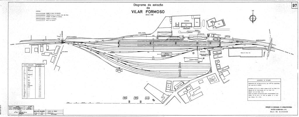 Diagrama de linhas (mapa da estação) da Estação Ferroviária de Vilar Formoso datado de 1992. Arquivo Técnico da IP, Infraestruturas de Portugal
